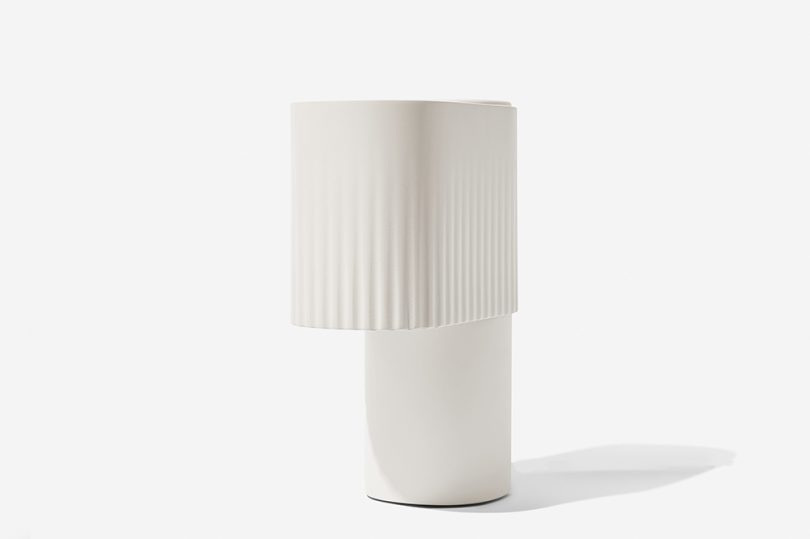angled white table lamp
