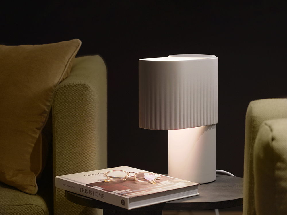 lit table lamp