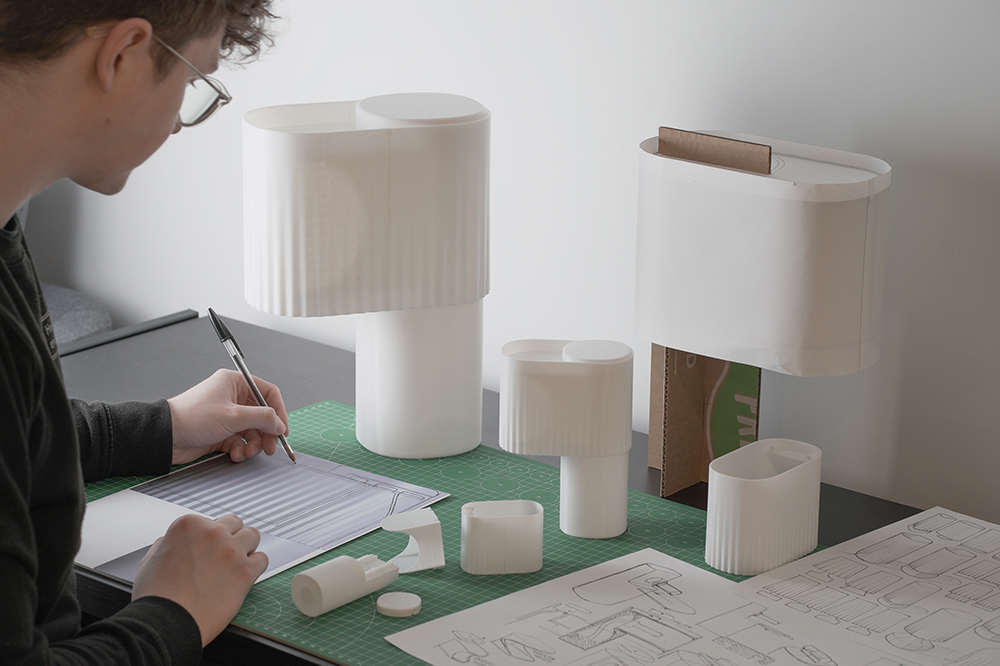 table lamp being designed