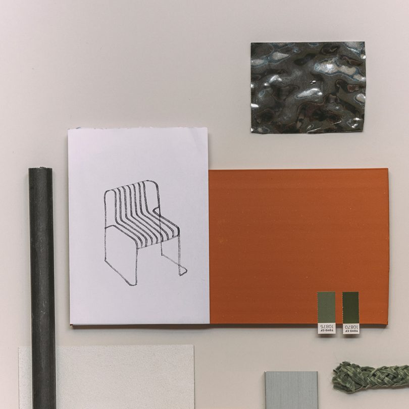 flatlay of chair sketch