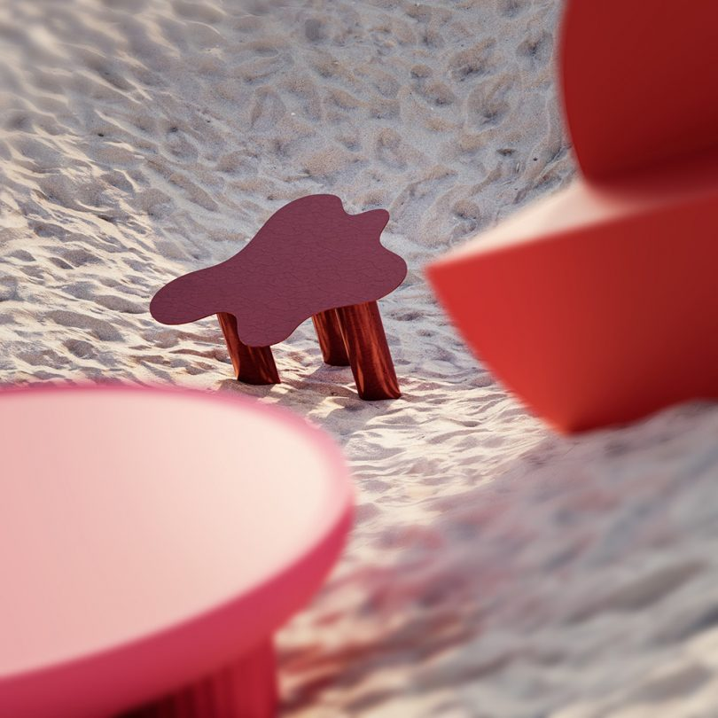 side table in sand dune