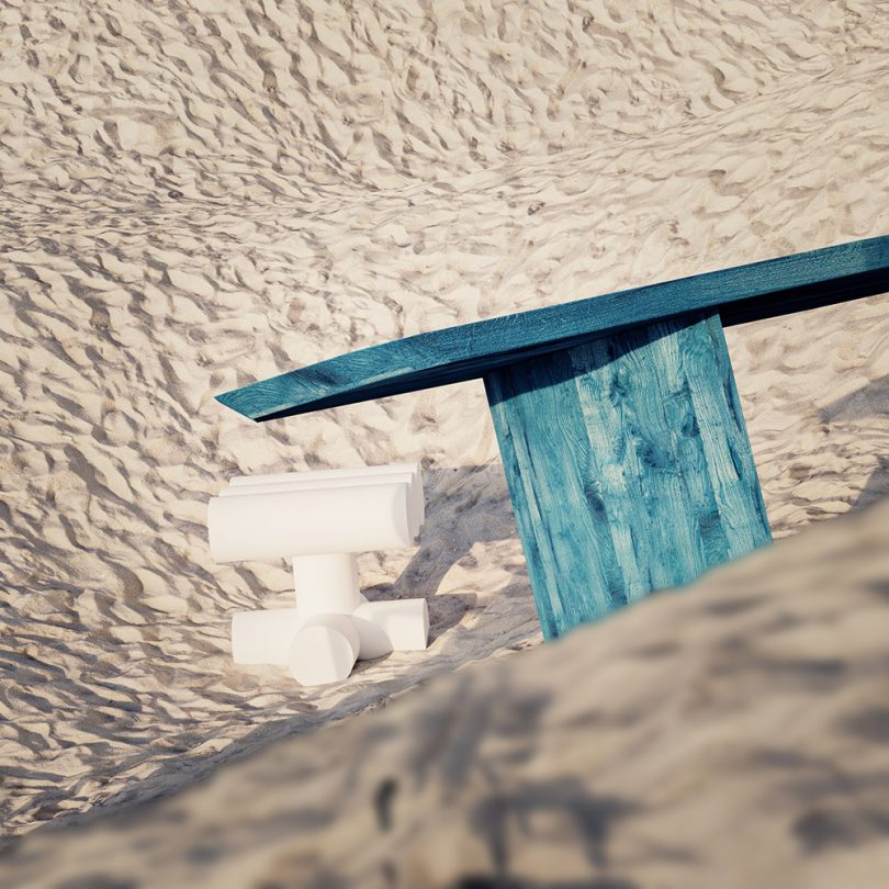 chair and table in sand dune