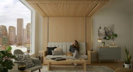 A Sofa That Transforms To a Bed by Lowering From the Ceiling