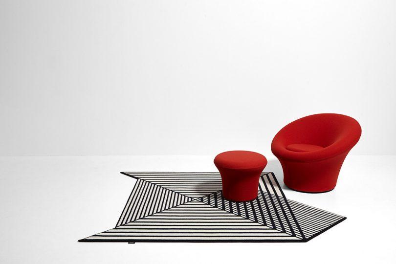 geometric rug in room