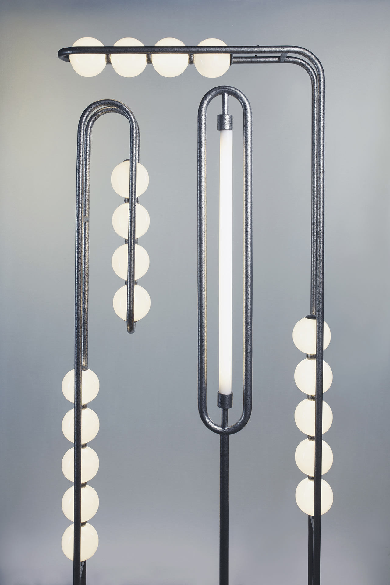 three floor lamps