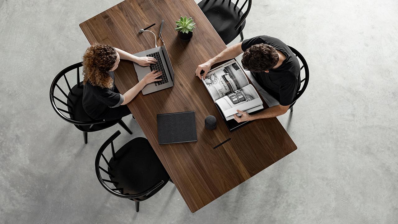 overhead photo of table