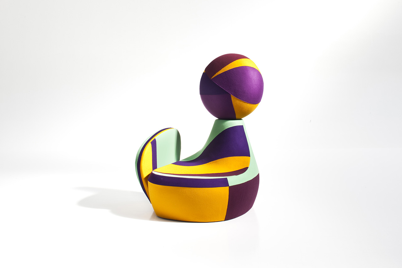 front of colorful chair