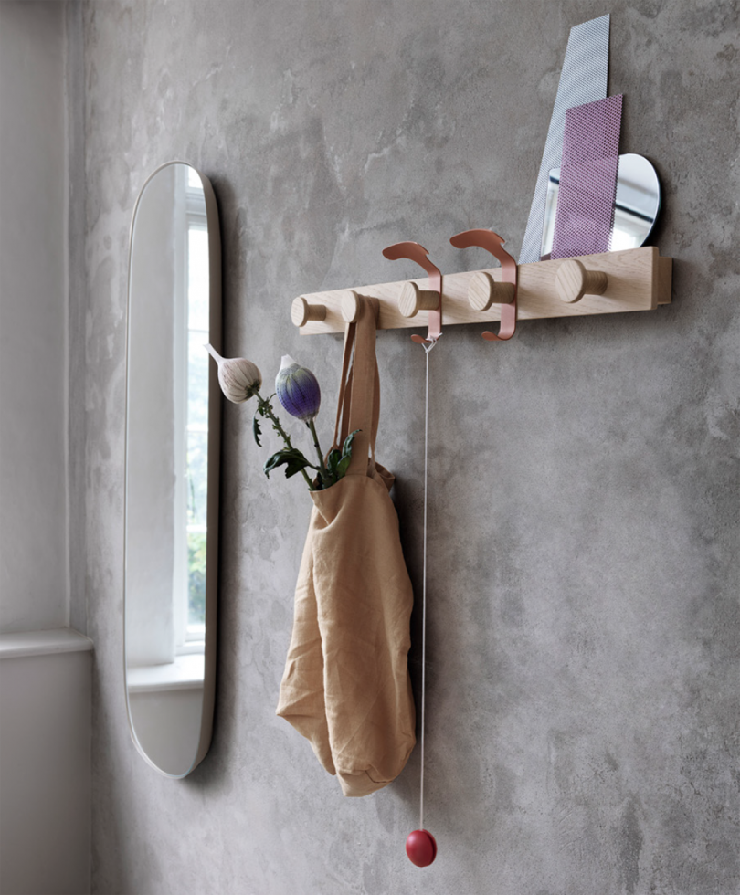 coat rack and shelf in living space