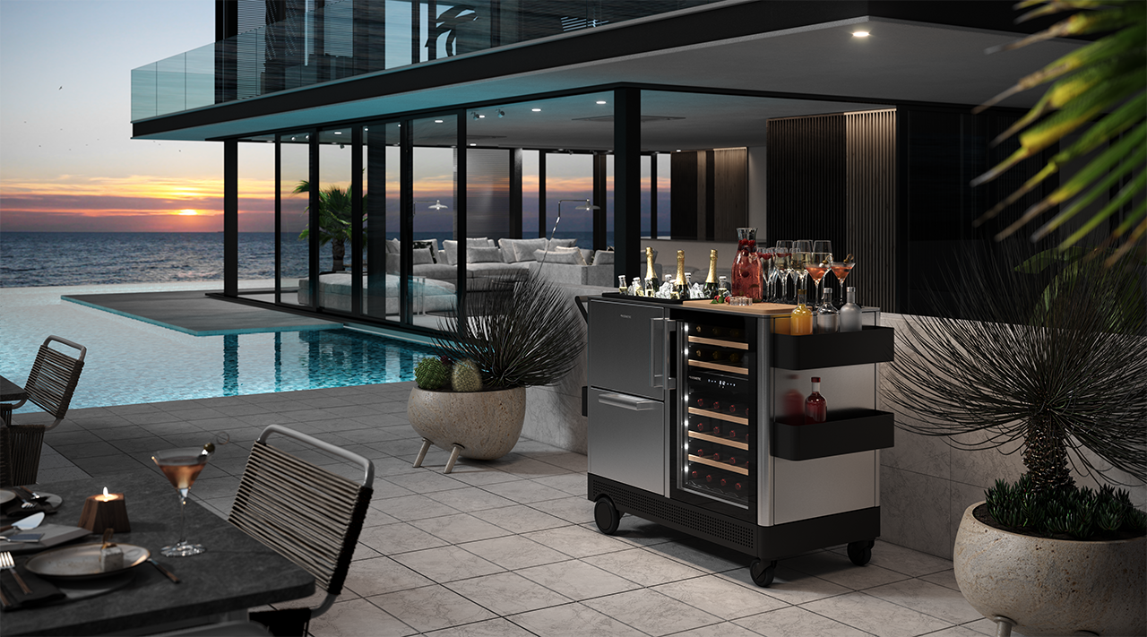 patio with mobile bar