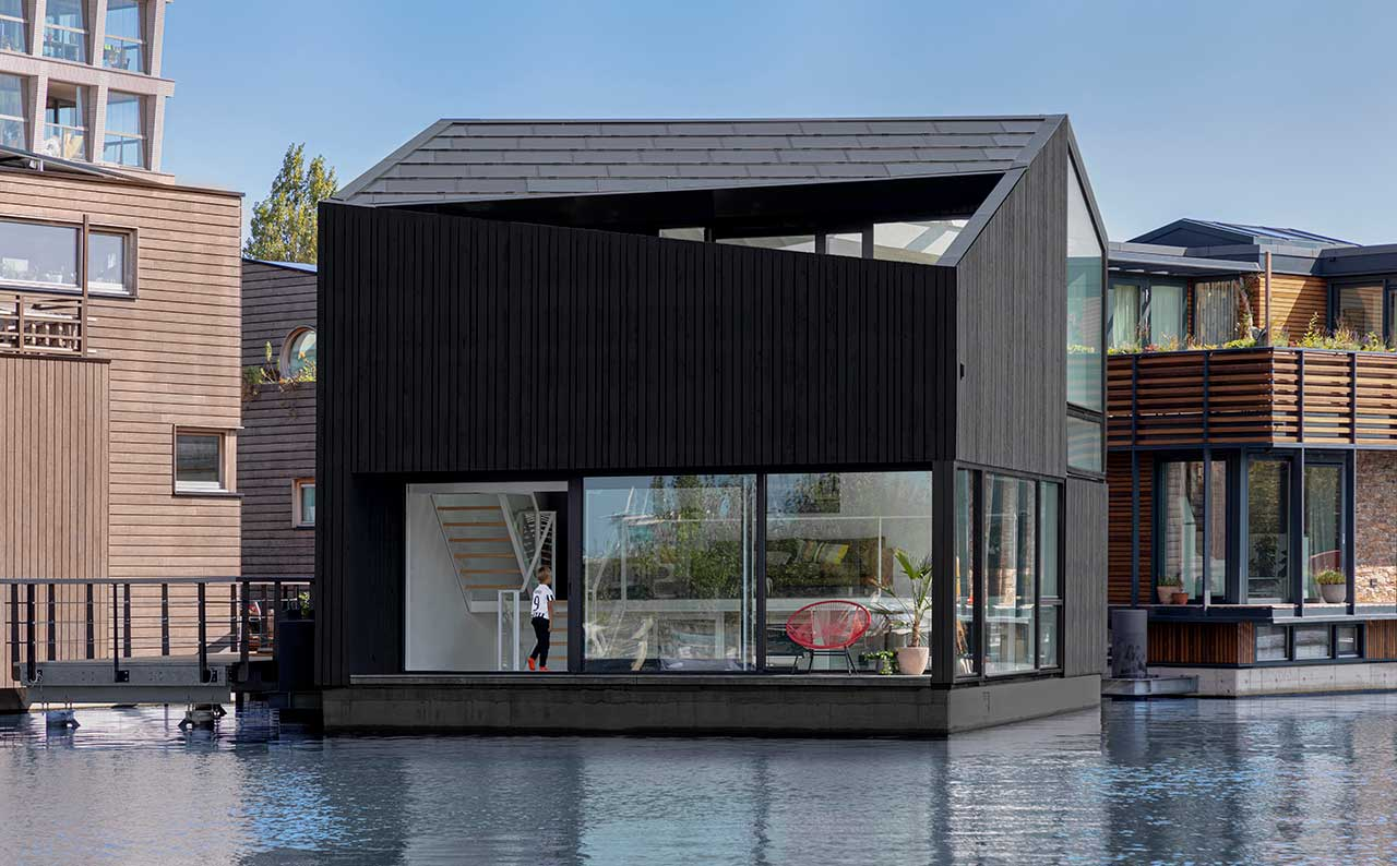 An Angular Floating Home in a Sustainable Floating Village in Amsterdam