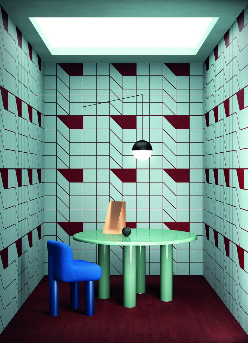 room with bold geometric wallpaper