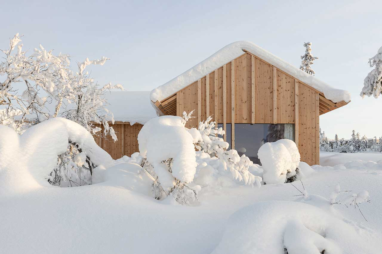 The Narrow Kvitfjell Cabin on Top of the Mountains in Norway