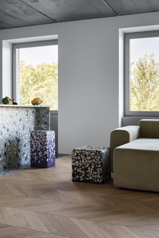 terrazzo tables in room