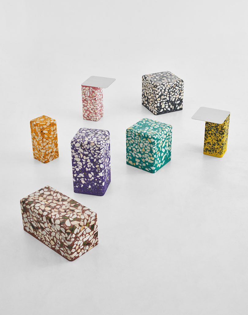 group of terrazzo tables