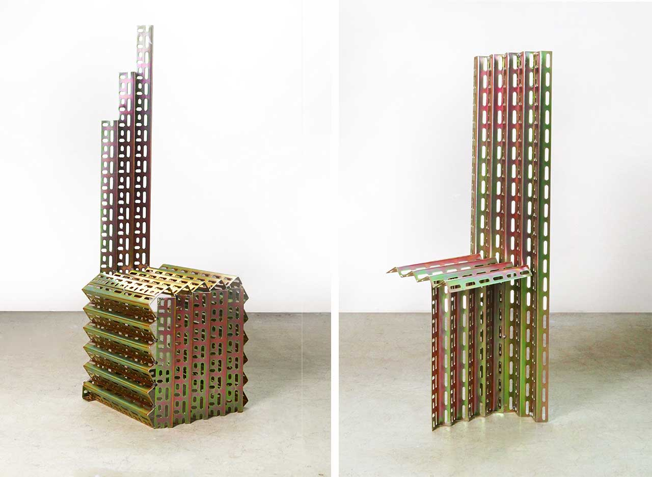 Jinyeong Yeon Turns Basic Galvanized Angle Steel into Sculptural Furniture