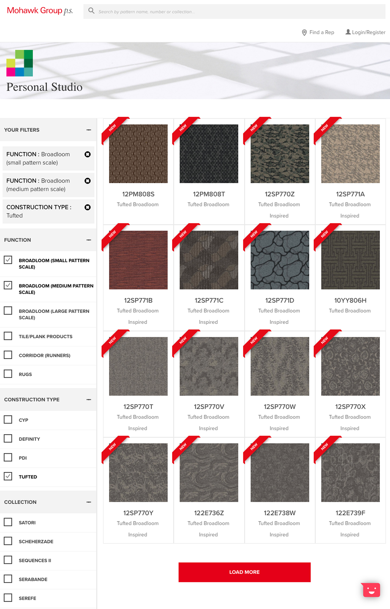 screen shot of rug patterns