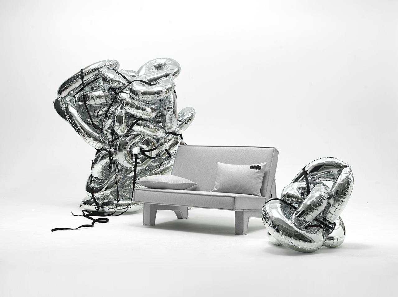 grey two seat sofa