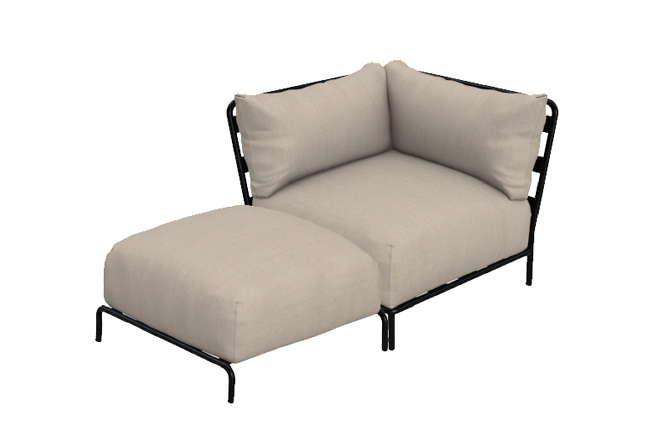 outdoor corner sectional seat with pouf