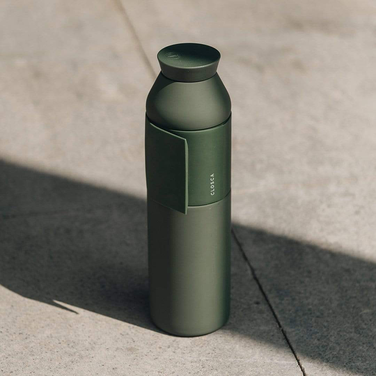 water bottle on pavement