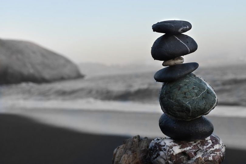 sone cairn on beach