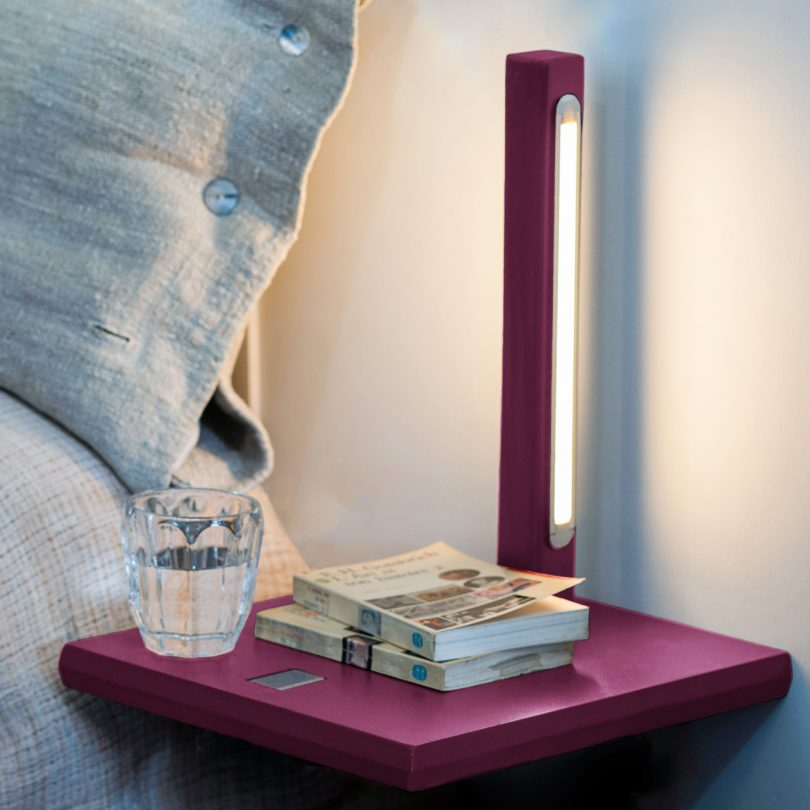 bedside table and light