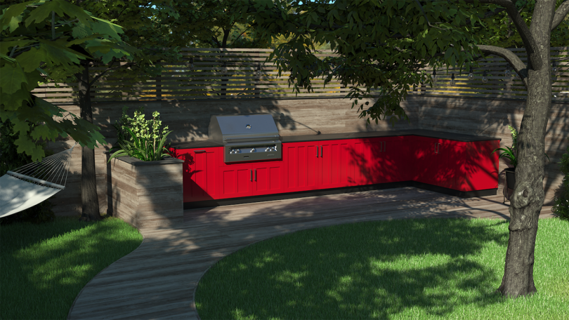 outdoor kitchen in yard