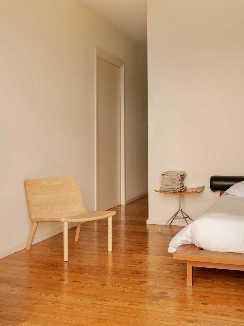 wooden chair in bedroom