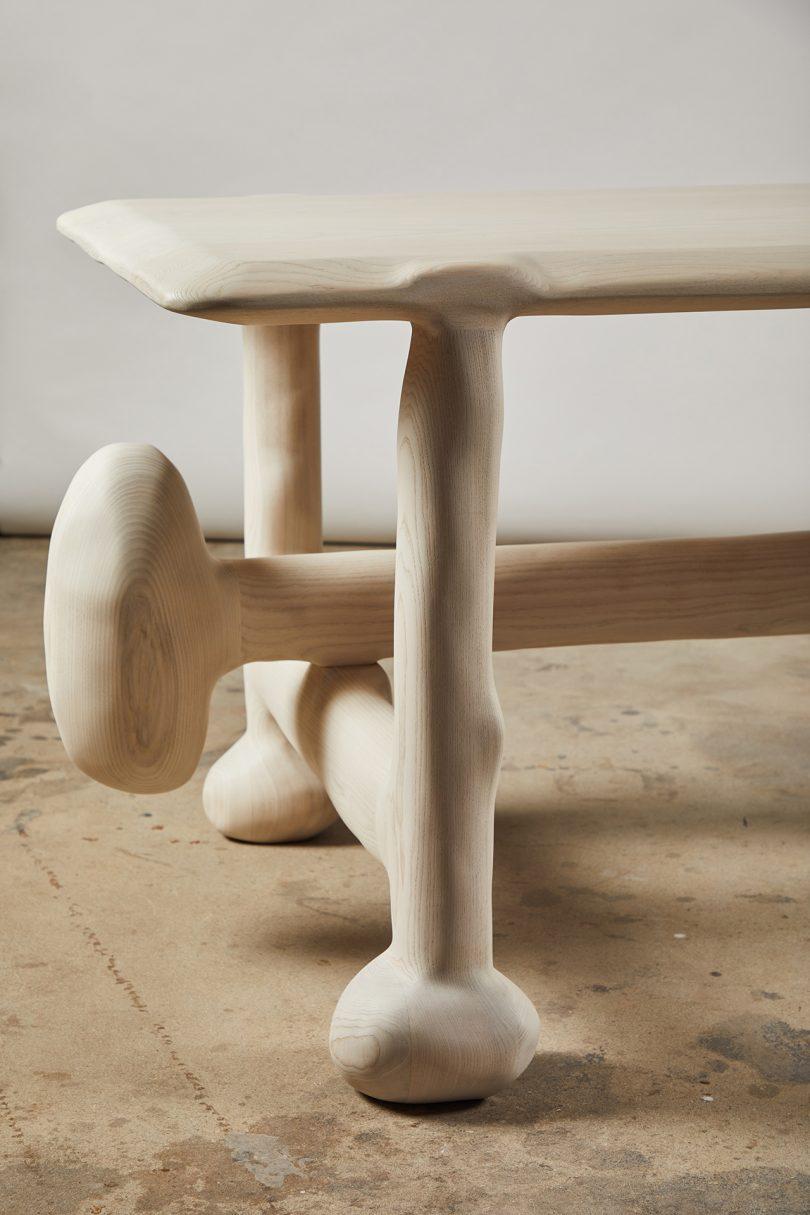 sculptural desk detail