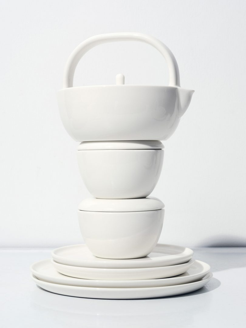stacked tableware