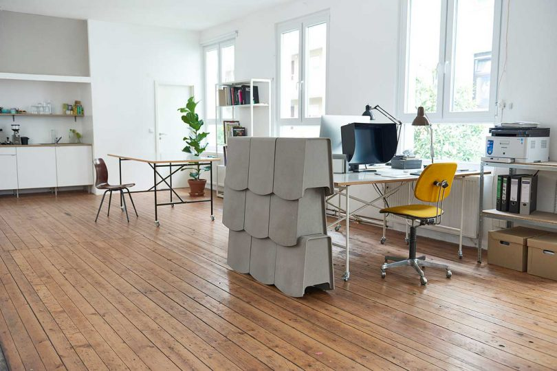 stacked rocking stool in office environment