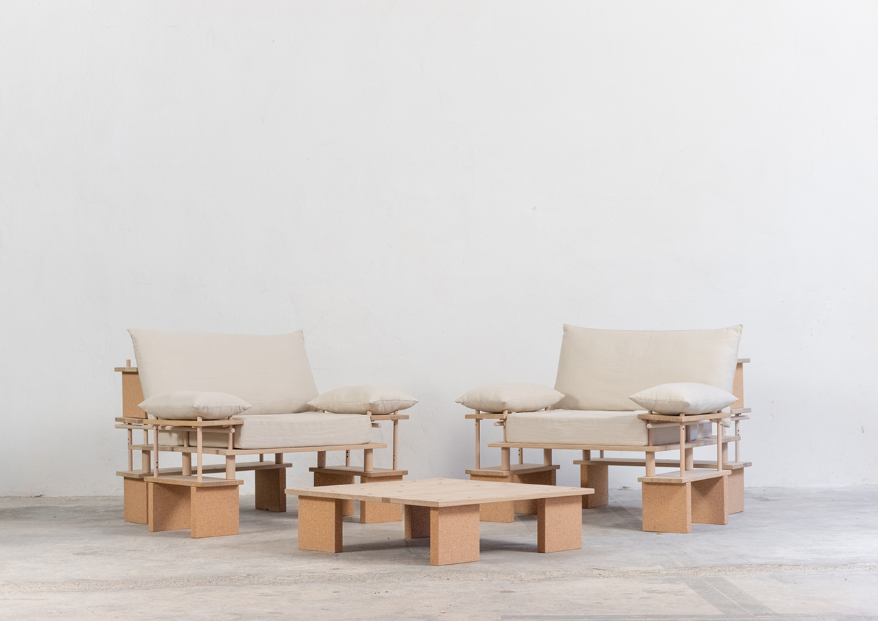 two chairs and low table