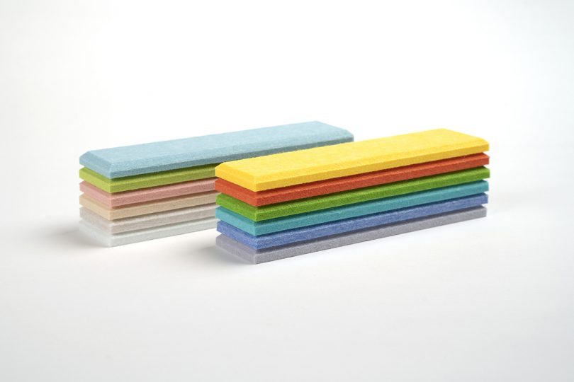 two stacks of felt tiles