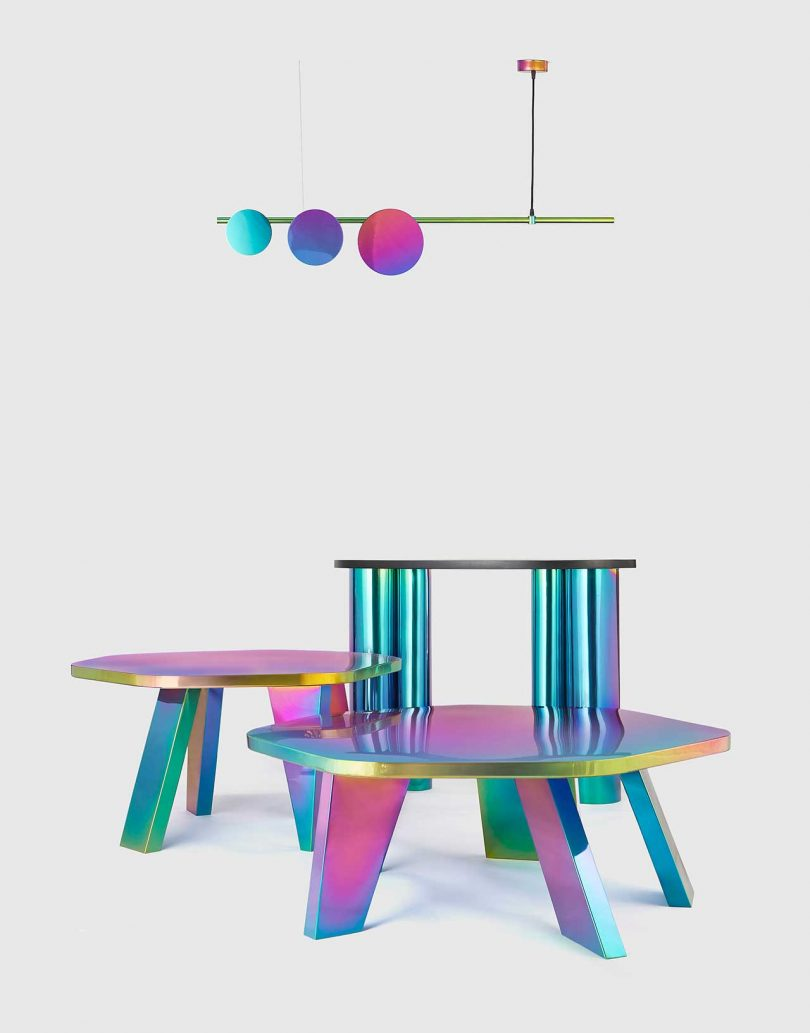 three tables and a ceiling light fixture