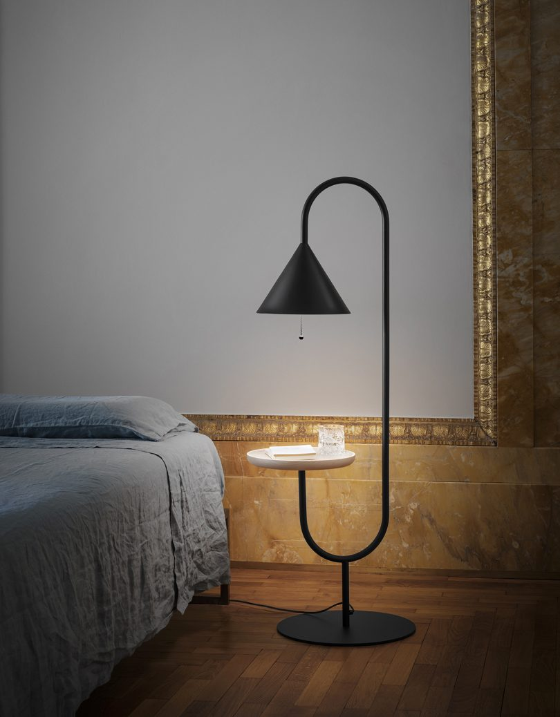 floor lamp in bedroom