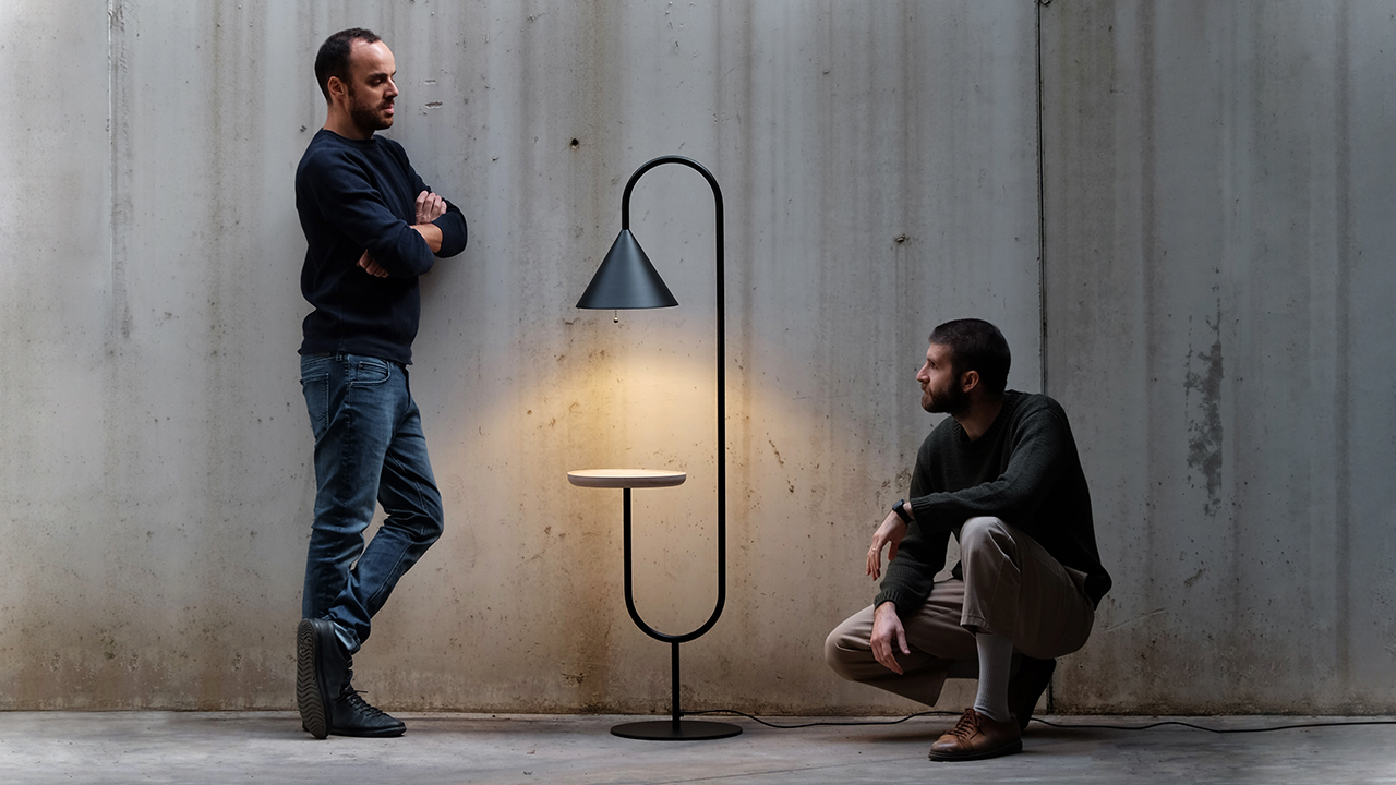 two men and a lamp