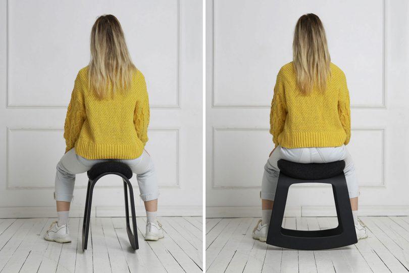 woman sitting on rocking stool