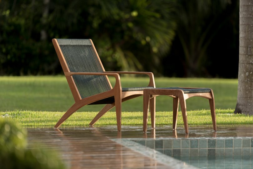 outdoor chair and foot rest