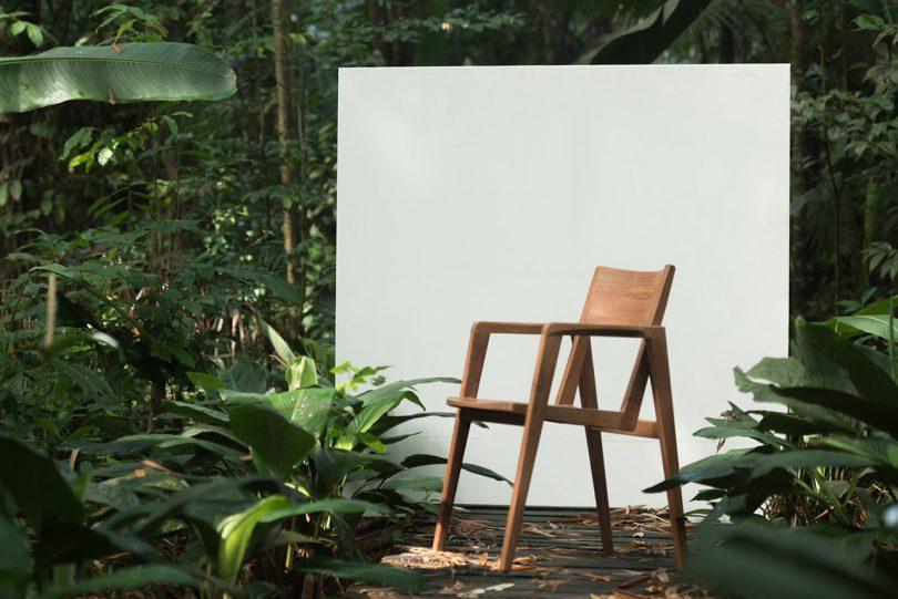 outdoor wooden armchair