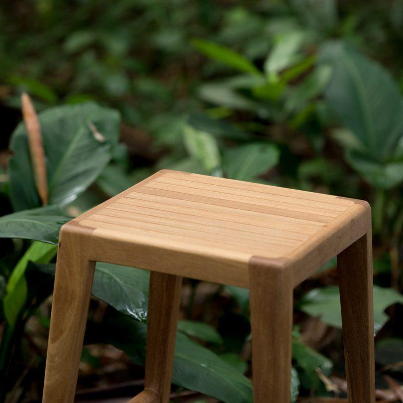 outdoor wooden stool