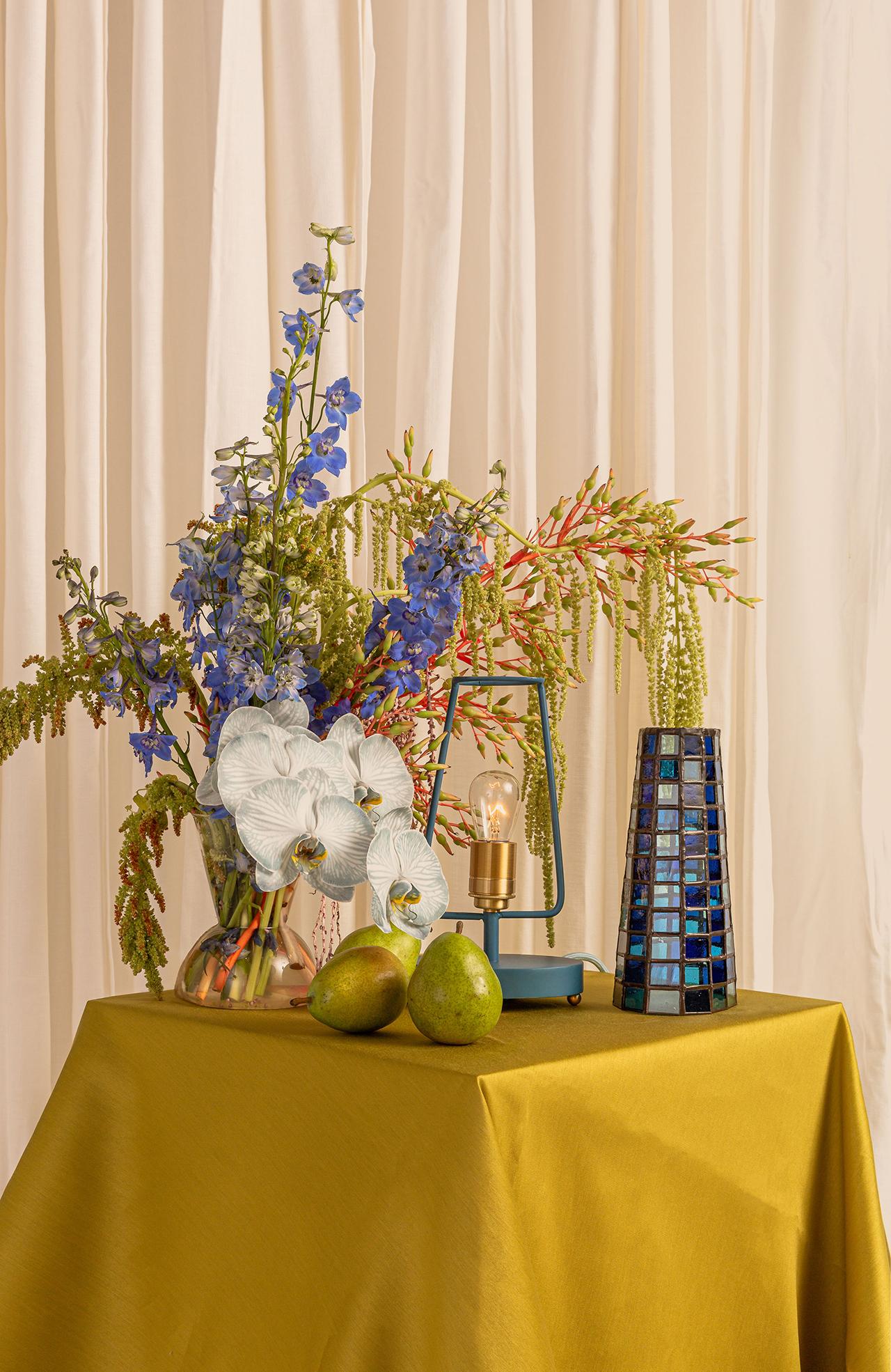 lamp, vase, flowers