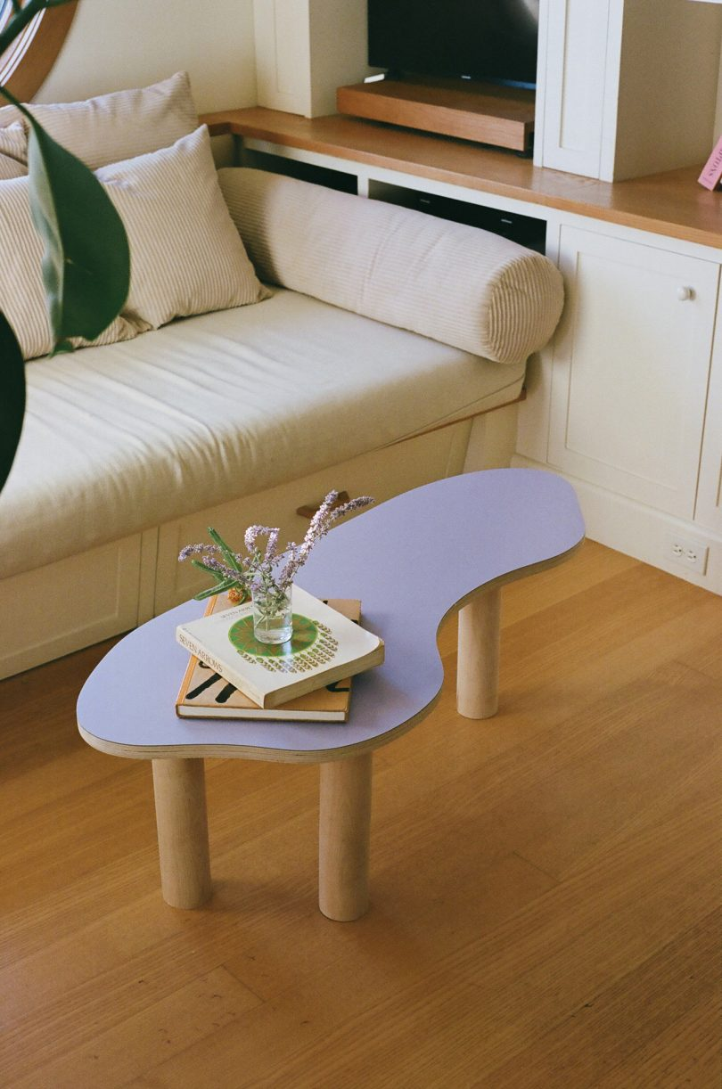 coffee table with lavender top