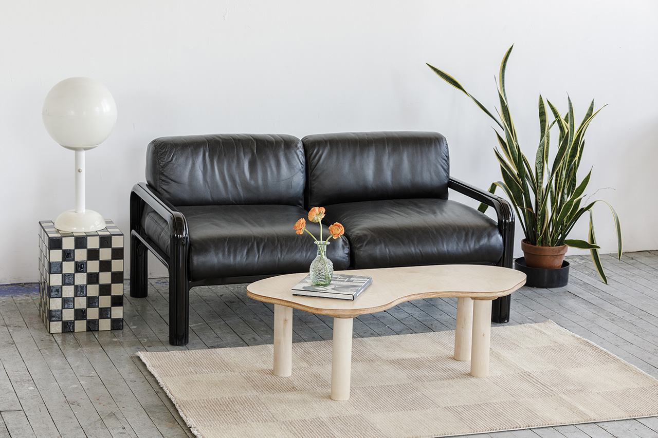 two seat sofa and coffee table