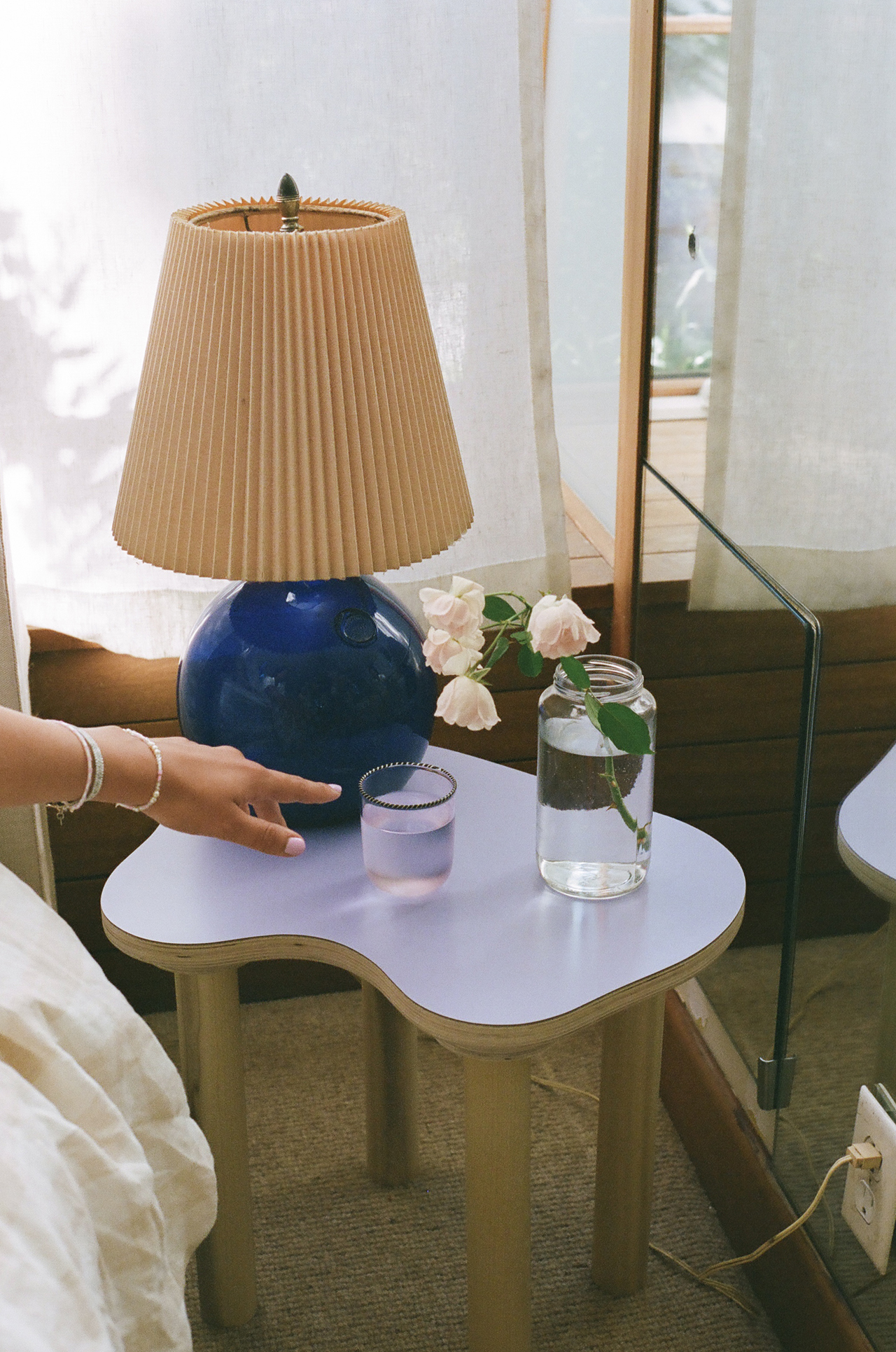 side table with lavender top