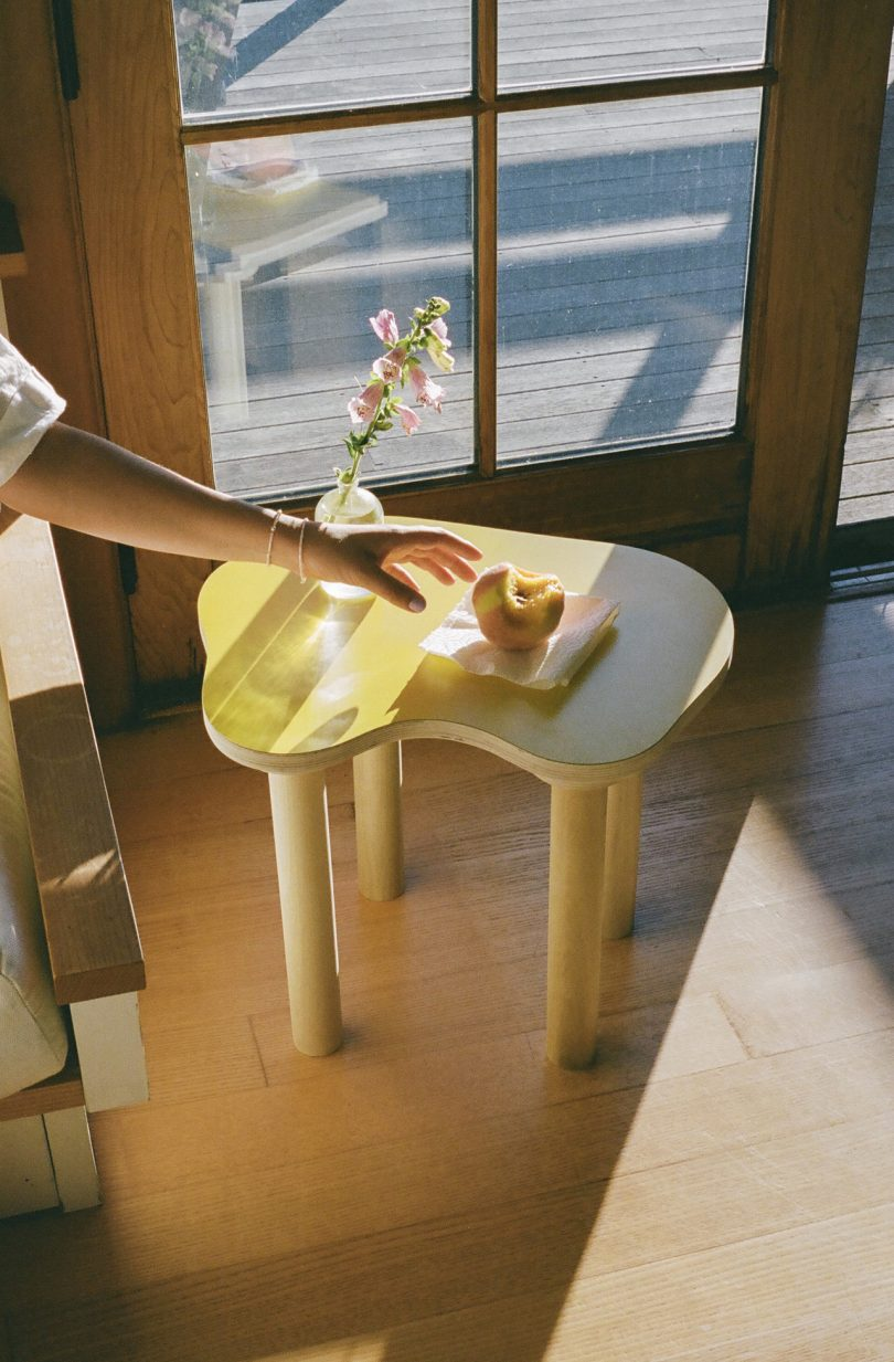 side table with yellow top