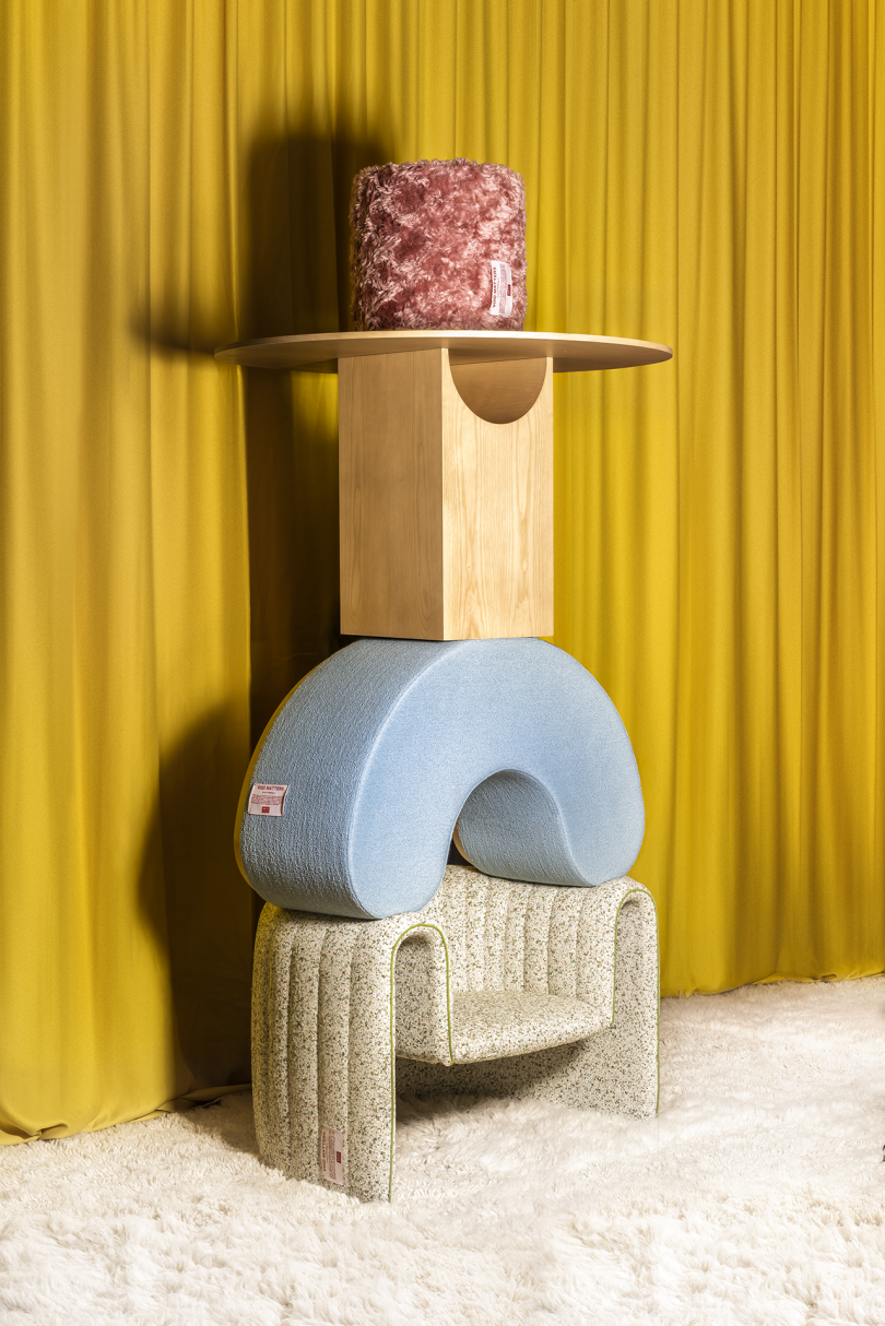 stacked armchair, ottoman, table, pouffe