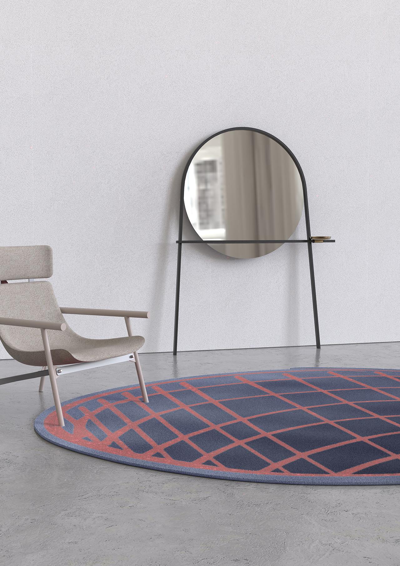round rug, mirror, chair