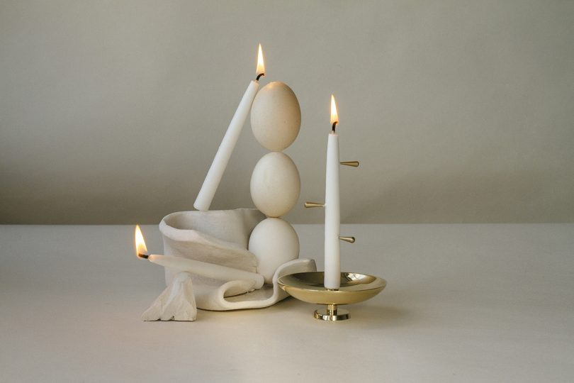 candles and candle holder