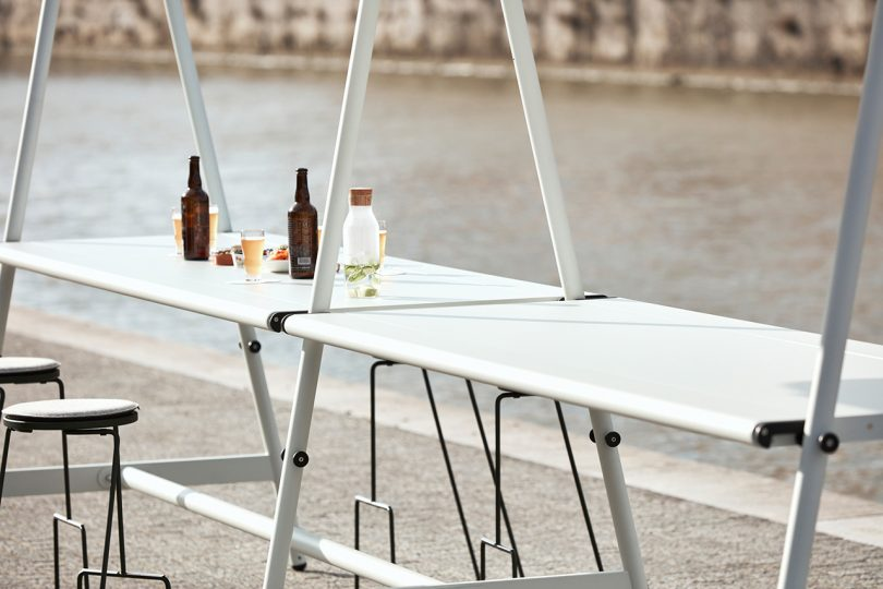 tables by a river