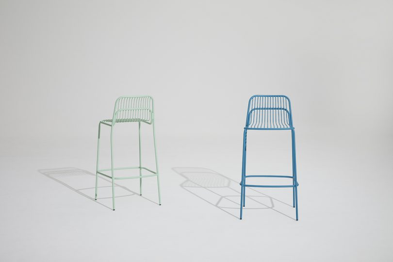 two outdoor stools