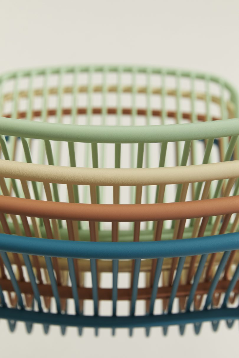 detail of stacked outdoor chairs
